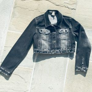 Limited Too Sequin & Studded Jean Jacket